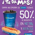 Cinepolis descuento en refresco y hot dog con Cinecash