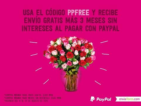 Envíaflores 3 meses sin intereses pagando con PayPal y envió gratis