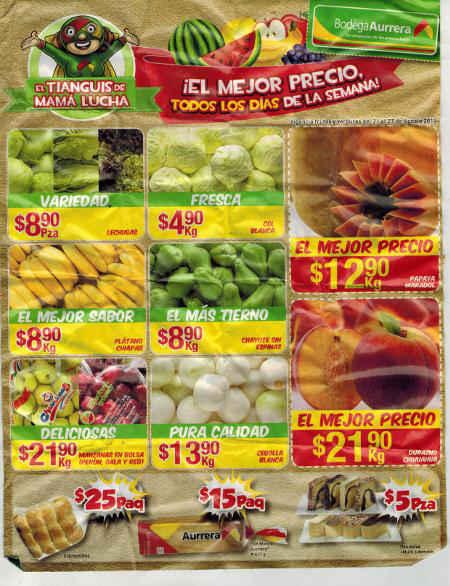 Bodega Aurrera Frutas y Verduras del 21 al 27 de agosto