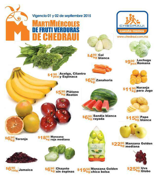 Ofertas de Frutas y Verduras en Chedraui 1 y 2 de Septiembre