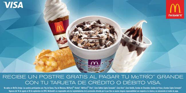 McDonalds Postre Gratis al Comprar McTrío Grande Con Visa