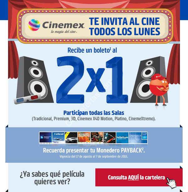 Cinemex 2x1 todos los lunes con monedero Payback