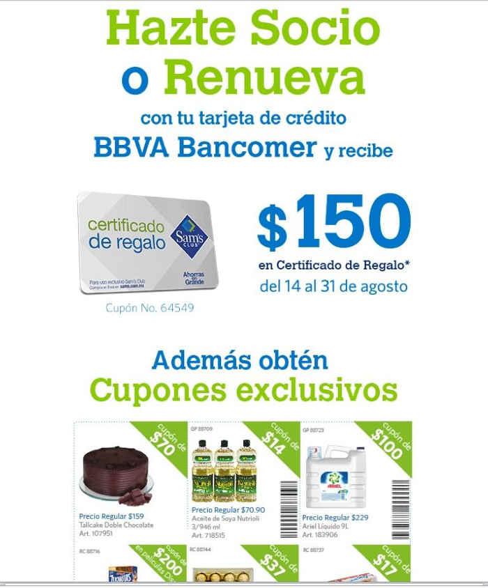 Sams Club monedero si te haces socio o renuevas con BBVA Bancomer
