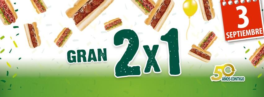 Promoción Subway 2x1 en sub de cualquier especialidad 3 de septiembre