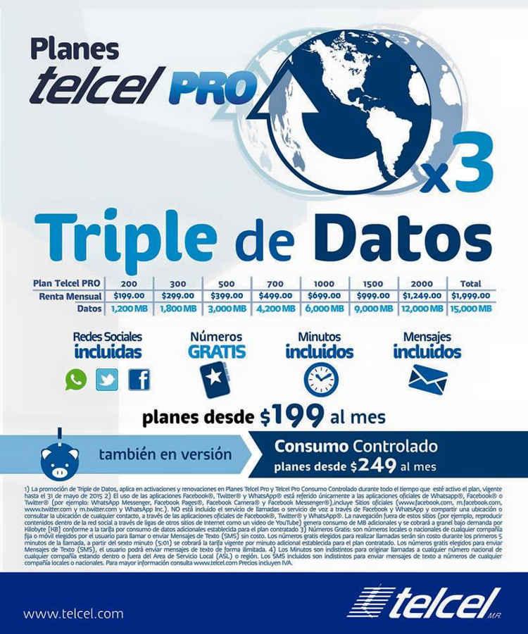 Planes Telcel PRO Triple de Datos