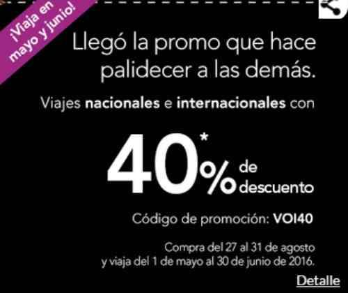 Volaris 40% de descuento en vuelos nacionales e internacionales