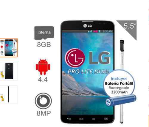 Walmart en línea LG Pro Lite 8GB Dual negro y batería portátil a $1999