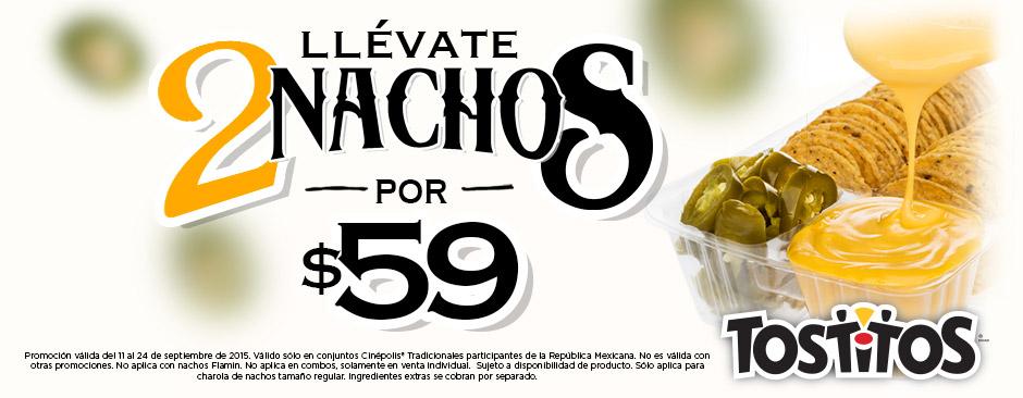 Cinépolis Llevate 2 Nachos por $59 del 11 al 24 de Septiembre