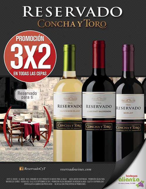 3×2 en Vinos Reservado Concha y Toro en Bodegas Alianza