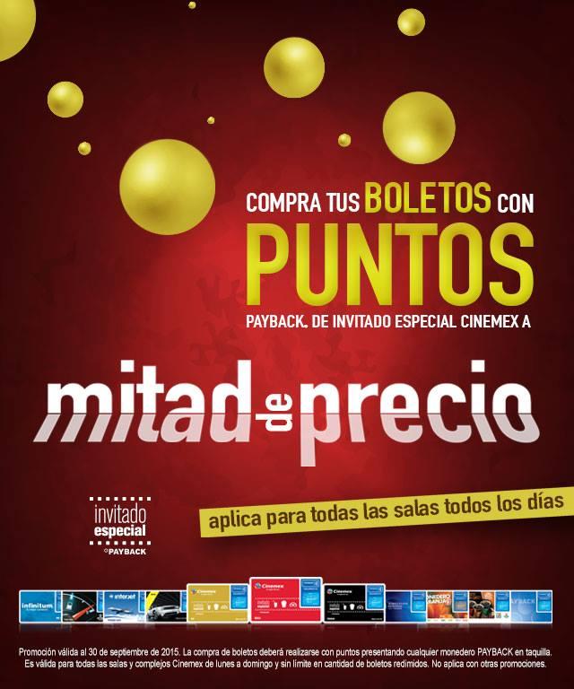 Cinemex Boletos de Cine al 50% de descuento con puntos Payback