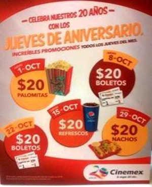 Cinemex Promociones de Jueves de Aniversario