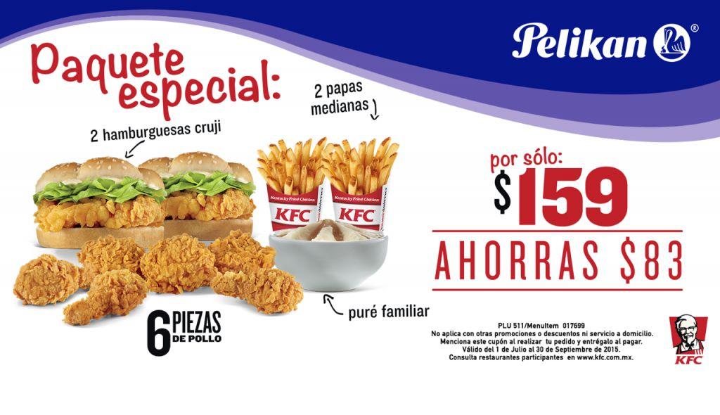 KFC Cupón de 6 piezas, 2 hamburguesas y 2 papas