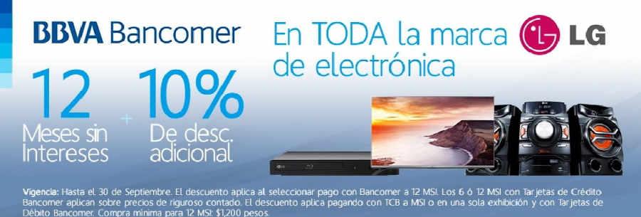 Famsa MSI y descuento adicional en Electrónica LG con BBVA Bancomer