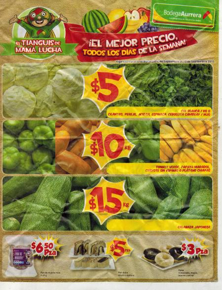 Bodega Aurrera Frutas y Verduras del 4 al 10 de septiembre