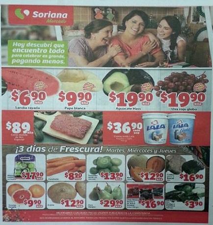 Frutas y verduras Soriana Mercado del 15 al 17 de Septiembre