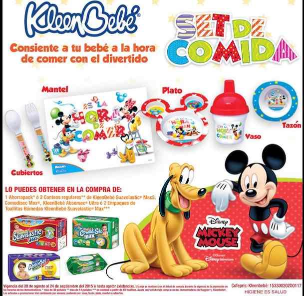 Kleenbebé y Huggies te regalan set de comida de Mike mouse gratis