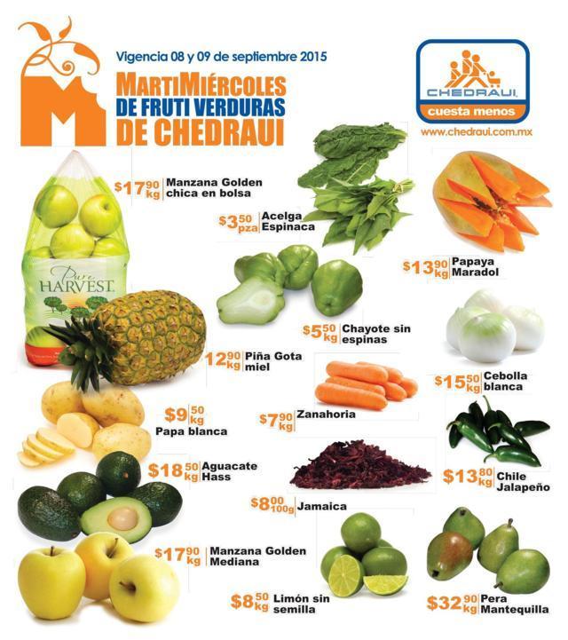 Chedraui Ofertas de Frutas y Verduras 08 y 09 de Septiembre