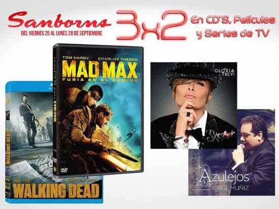 Sanborns: 3×2 en CD´s, Películas y Series de TV