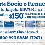 Sam's Club $150 en Certificado de REGALO pagando membresía con BBVA Bancomer