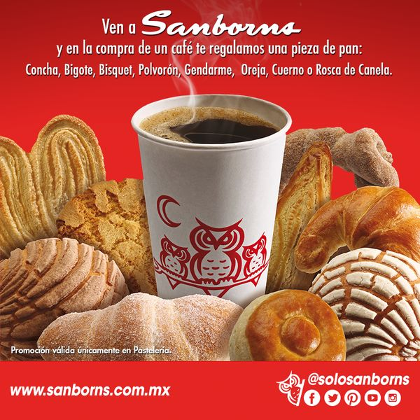 Sanborns: Te regala pan dulce comprando café