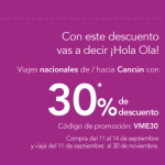 Volaris 30% de descuento en viajes nacionales de Cancún