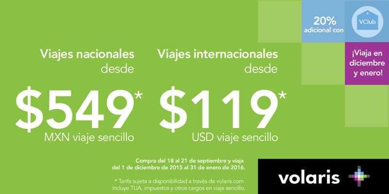 Volaris oferta en Viajes nacionales e internacionales