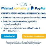 Walmart $100 de Cashback en compra minima de $1000 con Paypal