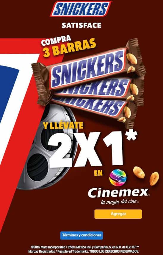 2x1 en Cinemex comprando 3 Snickers en Walmart