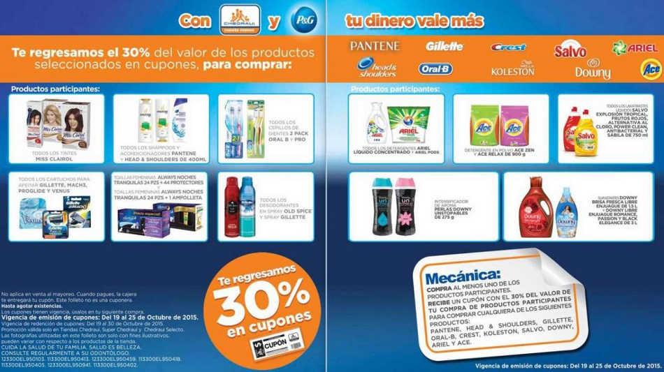 Chedraui: 30% en cupones de descuento comprando productos P&G del 19 al 25 de Octubre