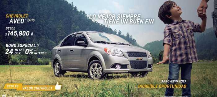 Chevrolet hasta 24 meses sin intereses en automóvil Aveo