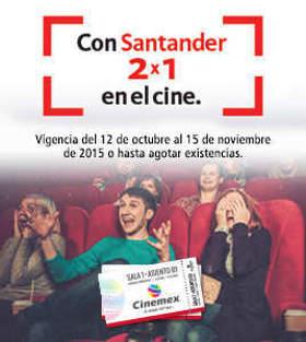 Cinemex 2x1 en Cine con Mastercard Santander