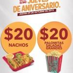 Cinemex Promoción Jueves de Aniversario Palomitas y Nachos
