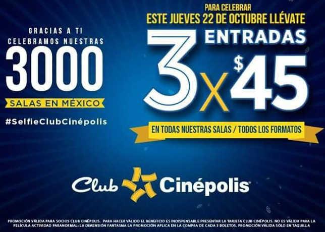 Cinépolis 3 entradas de cine por $45