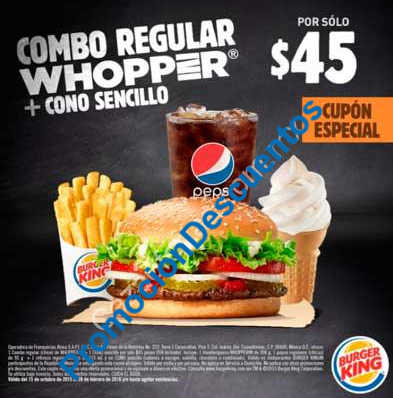 Buger King Cupones especiales Combo Whopper