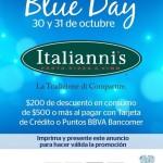 Italianni´s Blue Day $200 por cada $500 con Bancomer 30 y 31 de Octubre