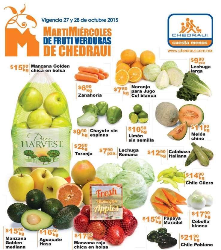 Frutas y Verduras Chedraui 27 y 28 de Octubre 2015