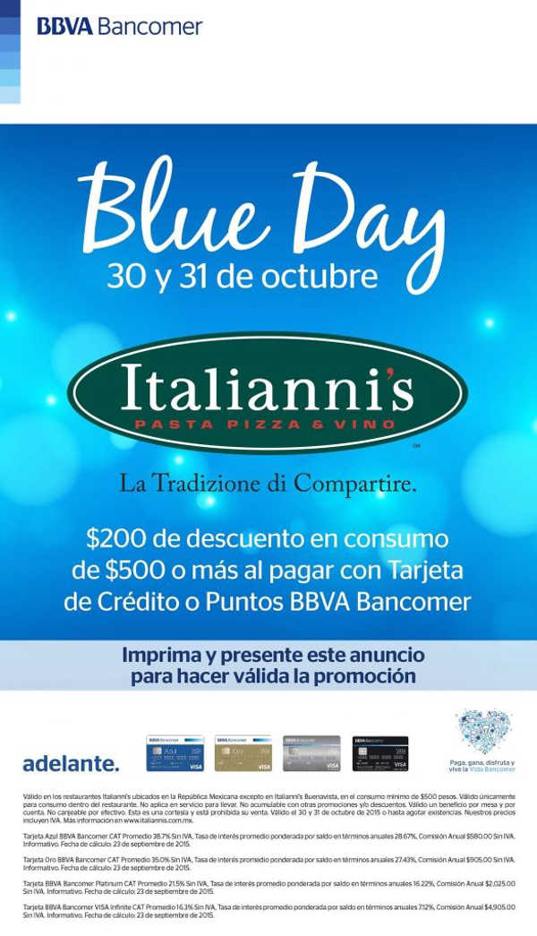 Italianni's $200 de descuento con BBVA Bancomer