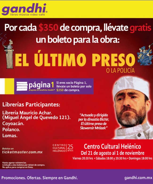 """Librerías Gandhi Boleto Gratis de """"El ultimo preso"""""""