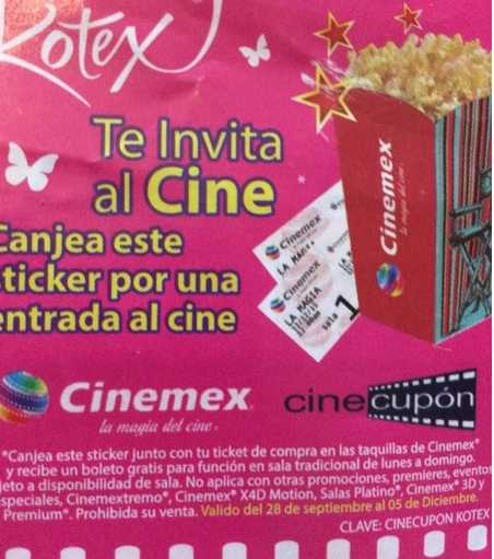 Kotex te regala boletos gratis para Cinemex