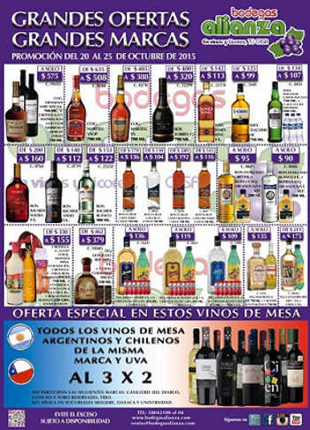 Bodegas Alianza: Ofertas de vinos y licores del 20 al 25 de Octubre