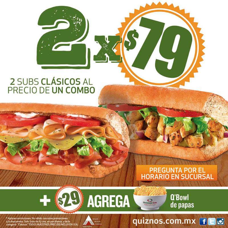 Quiznos: 2 subs clásicos por $79