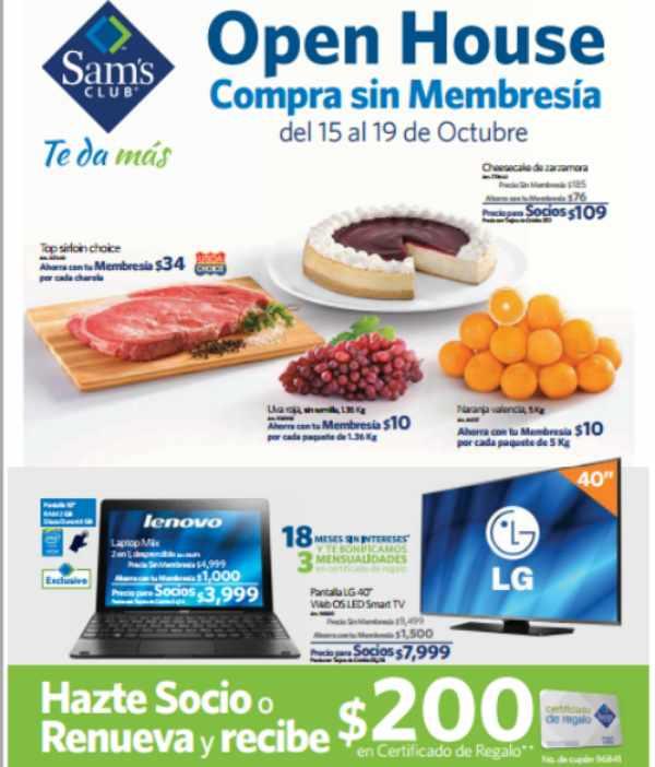 Sam's Club ofertas especiales de open house octubre 2015