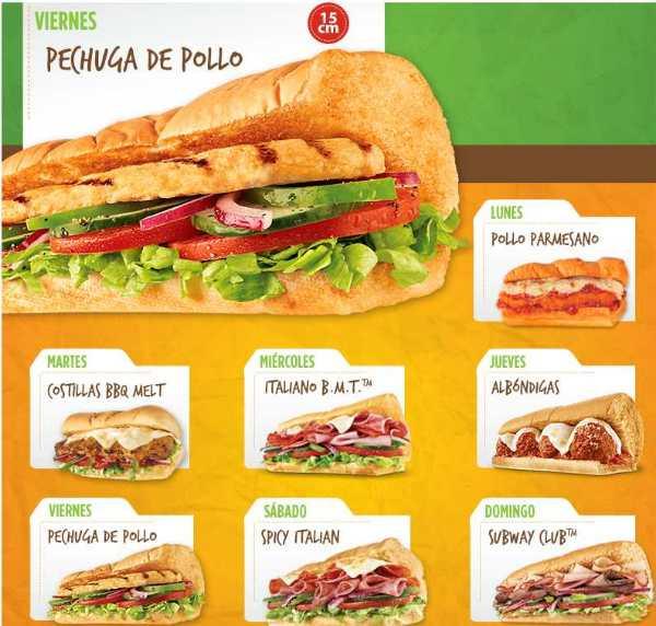 Subway Sub del día a $35