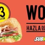Subway Sub de Jamón de 15 cm a $23 pesos