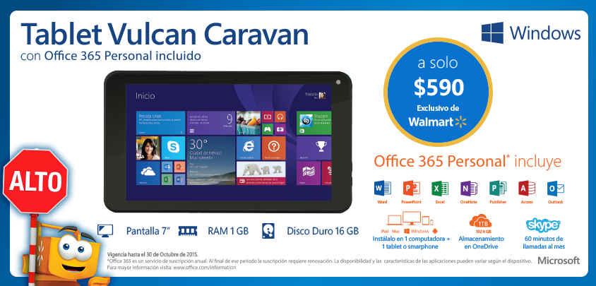 Walmart Tablet Vulcan Caravan con Office 365