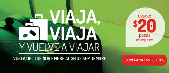 Vivaaerobus: Vuelos desde $20 pesos más impuestos
