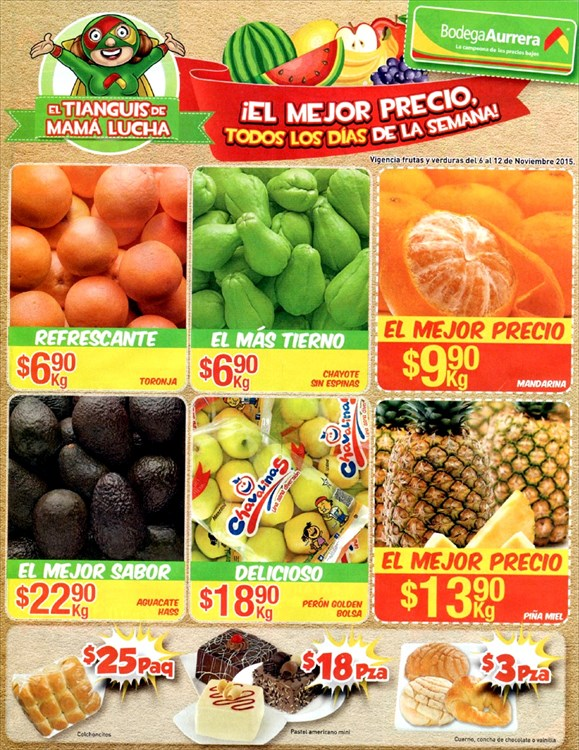 Bodega Aurrera: Tianguis de Mamá Lucha Frutas y Verduras al 12 de noviembre