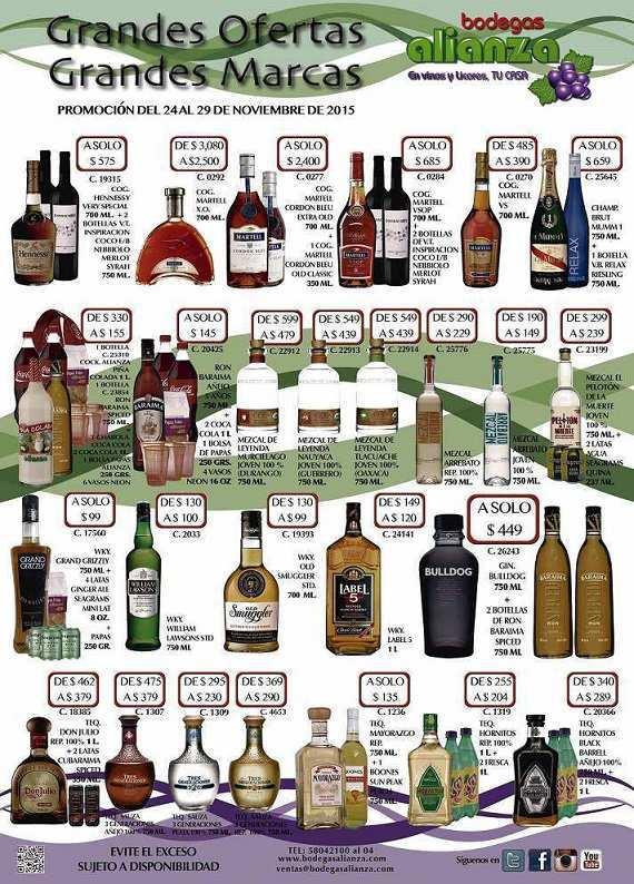 Bodegas Alianza Ofertas de vinos y licores Noviembre 2015