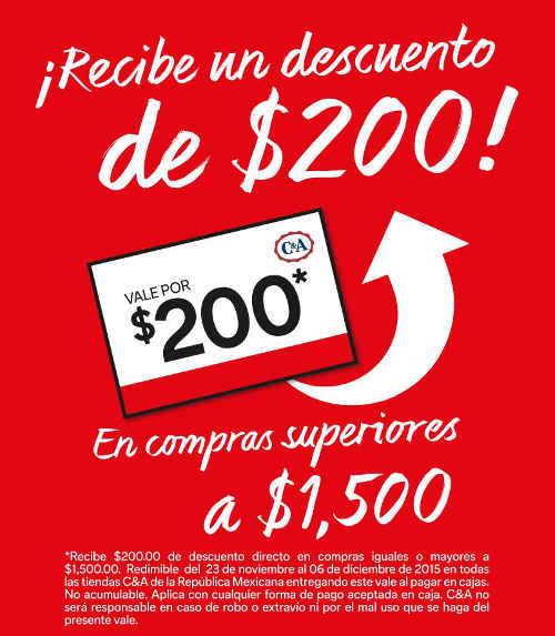 C&A: $200 de bonificación con compra mínima