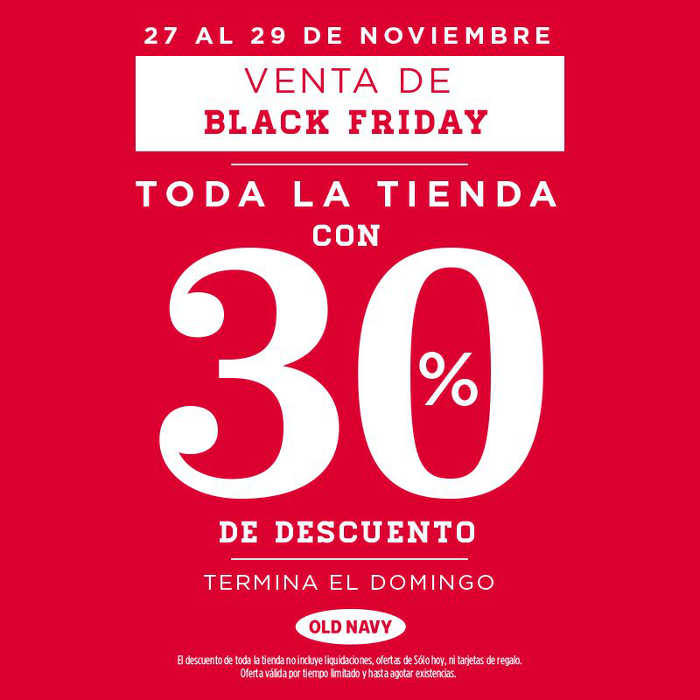 Oferta Old Navy Black Friday 2015: 30% de descuento